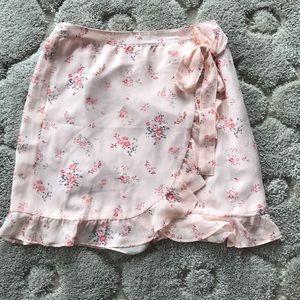 LOFT Floral Wrap Skirt